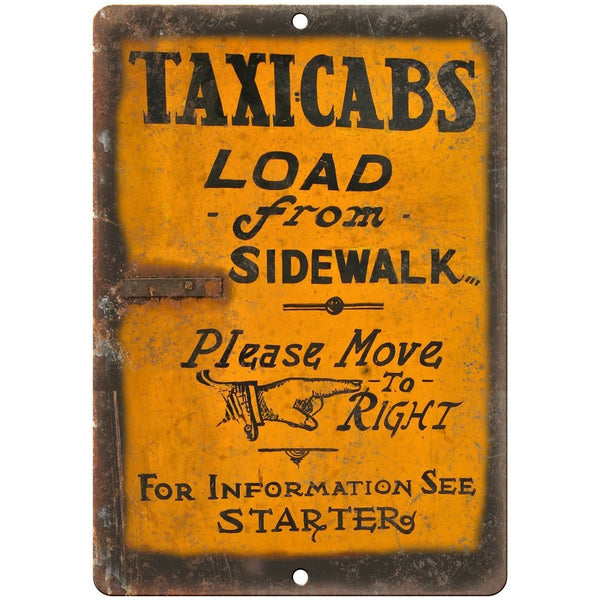"Porcelain Look Taxicabs Load From Sidewalk 10"" x 7"" Retro Look Metal Sign"