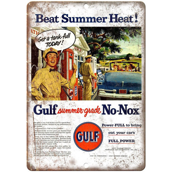 "Gulf Gas Station No-Nox Summer-Grade Gas Ad 10"" x 7"" Reproduction Metal Sign A20"