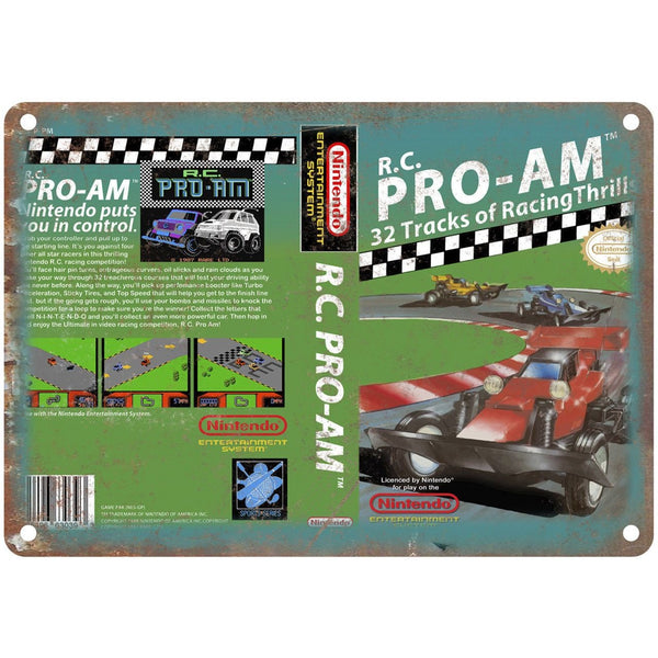 "Nintendo R.C. Pro-Am Video Game Box 10"" x 7"" Reproduction Metal Sign G129"