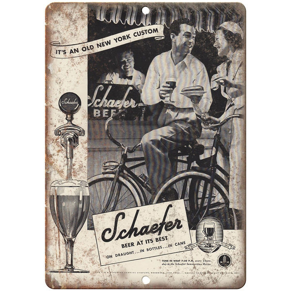 "Schaefer Beer Vintage Ad New York 10"" x 7"" Reproduction Metal Sign E358"