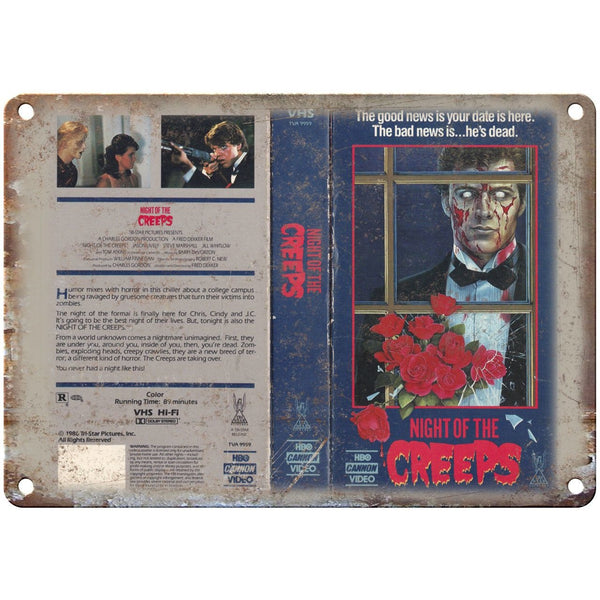 "Night of the Creeps HBO Cannon VHS Video 10"" X 7"" Reproduction Metal Sign V33"