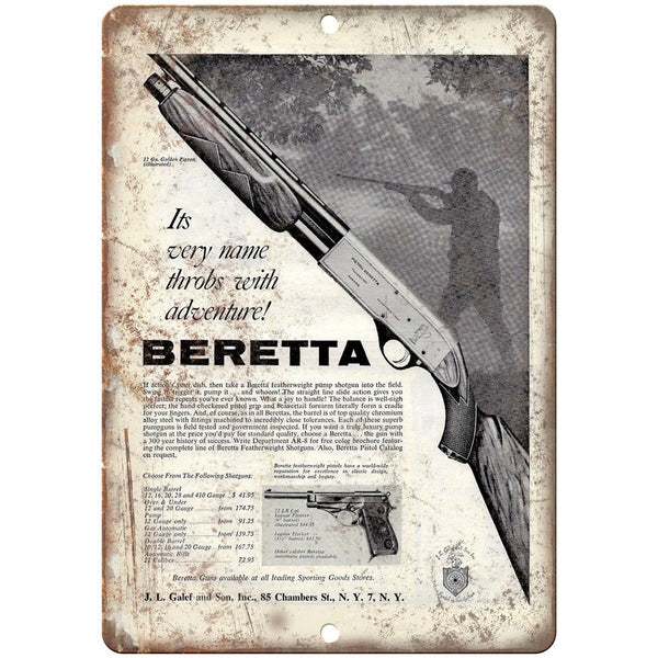 "Beretta Firearms J.L. Galef & Sons Vintage Ad 10"" x 7"" Reproduction Metal Sign"