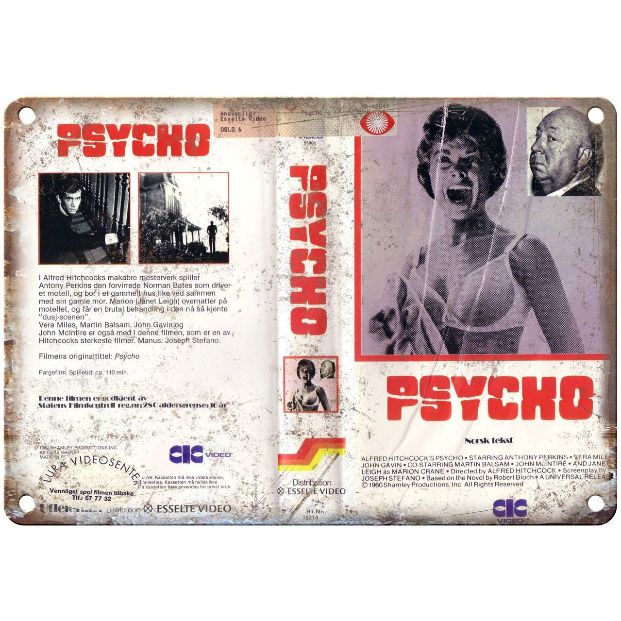 """1980 - Psycho Alfred Hitchcock VHS Cover 10"""" x 7"""" Reproduction Metal Sign"""
