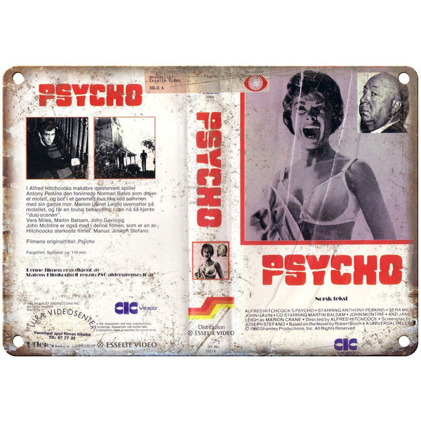 "1980 - Psycho Alfred Hitchcock VHS Cover 10"" x 7"" Reproduction Metal Sign"