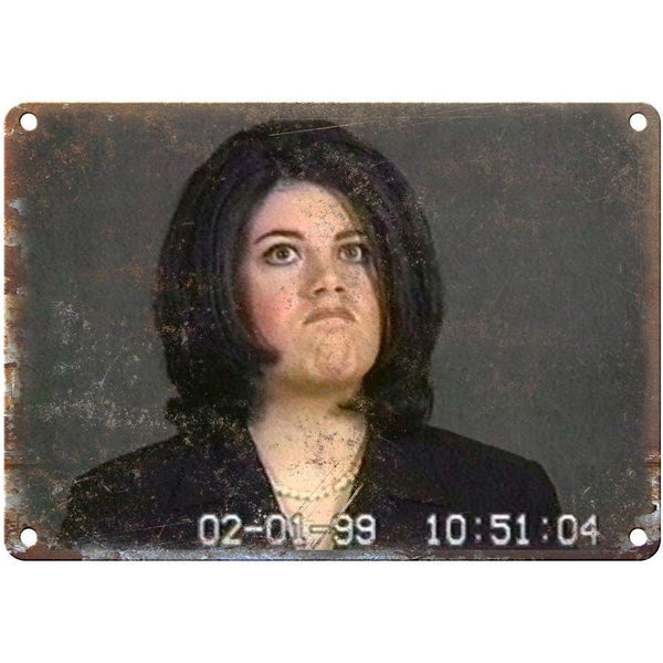 "Monica Lewinsky Guilty Face Funny News Clip 10"" x 7"" Reproduction Metal Sign"