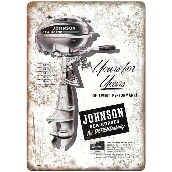"Johnson Sea-Horses Outboard Motor Boat Ad 10"" x 7"" Reproduction Metal Sign L08"