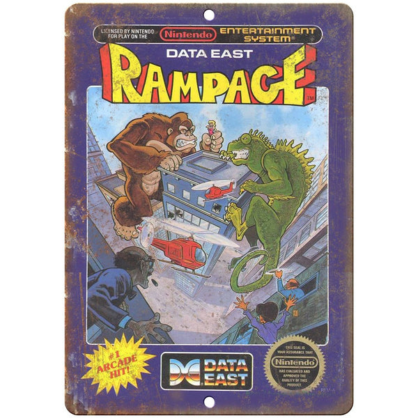 "Original Nintendo Rampage Data East Box Art 10""x7"" Reproduction Metal Sign A26"