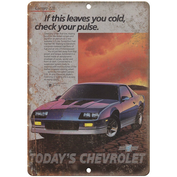 "Chevy Camaro Z28 Advertisment Man Cave Retro 10"" x 7"" Reproduction Metal Sign"