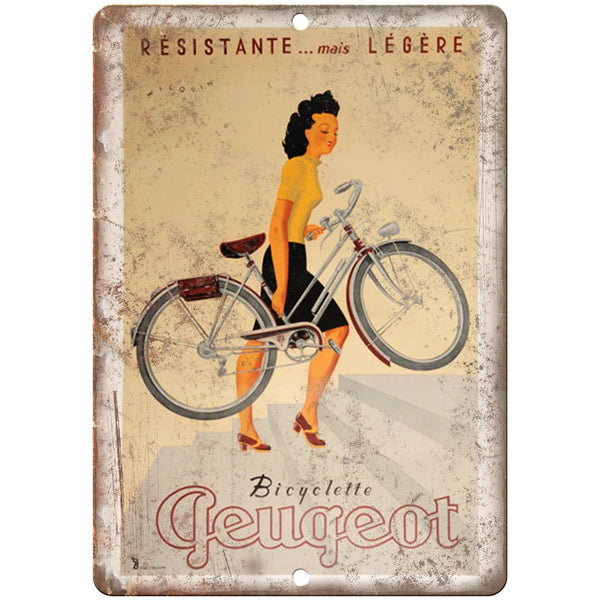 "Resistante Peugeot Bicycle Ad 10"" x 7"" Reproduction Metal Sign B231"