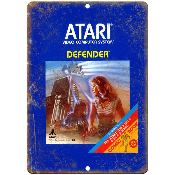 "Atari Video Computer System Defender Video Game 10"" x 7"" Retro Look Metal Sign"