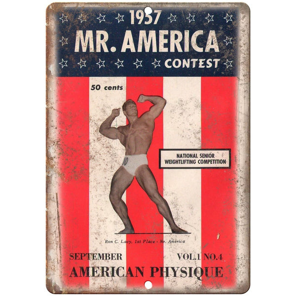 "1957 Mr. America Weightlifting Ron Lacy 10"" X 7"" Reproduction Metal Sign W10"