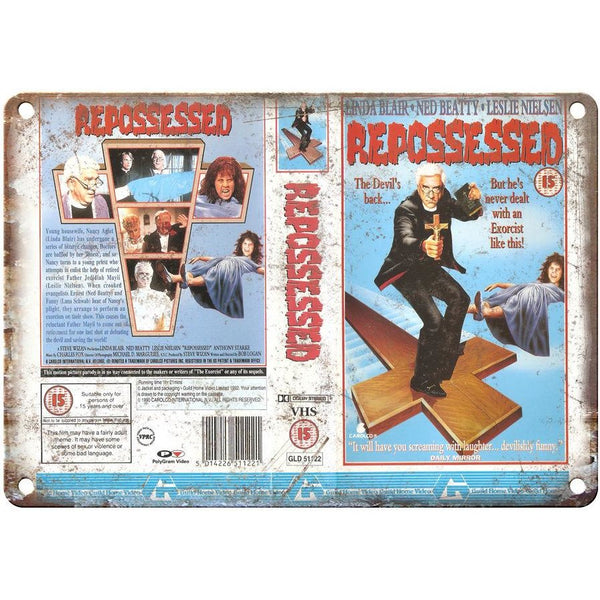 "Leslie Nielsen Repossessed VHS Cover Art Wall Art 10"" x 7"" Retro Metal Sign"