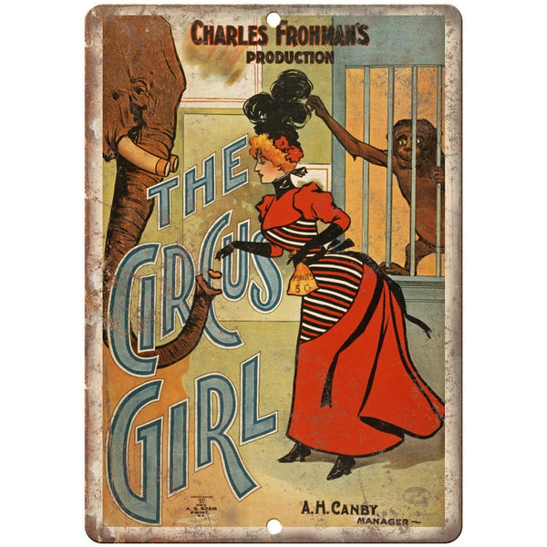 "Charles Frohman The Circus Girl Poster 10"" X 7"" Reproduction Metal Sign ZH106"