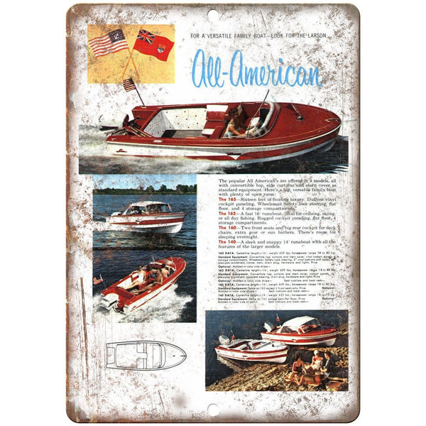 "Larson All American Family Boating 10"" x 7"" Reproduction Metal Sign"