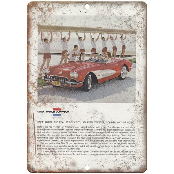 "1959 Chevrolet Corvette Vintage Print Ad 10"" x 7"" Reproduction Metal Sign"