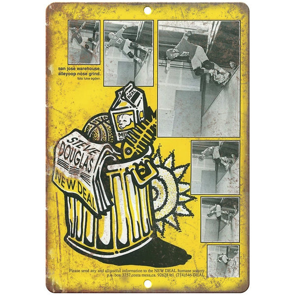 "New Deal Skateboards Steve Douglas Retro Ad 10"" x 7"" Reproduction Metal Sign"