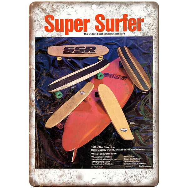"1978 Super Surfer Freestyle Skateboard Ad 10"" x 7"" Reproduction Metal Sign"