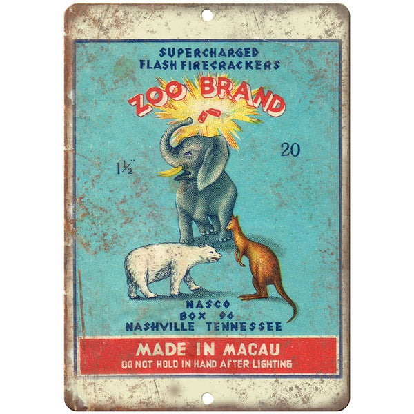 "Zoo brand Firework Package Art 10"" X 7"" Reproduction Metal Sign ZD82"