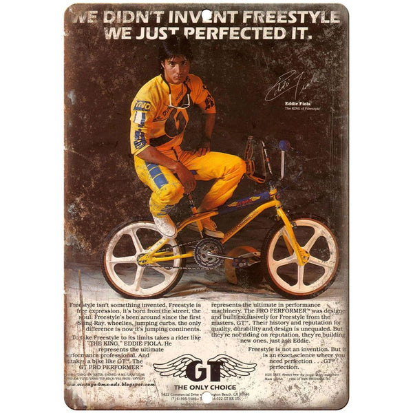"GT BMX, Freestyle BMX 10"" x 7"" retro metal sign"