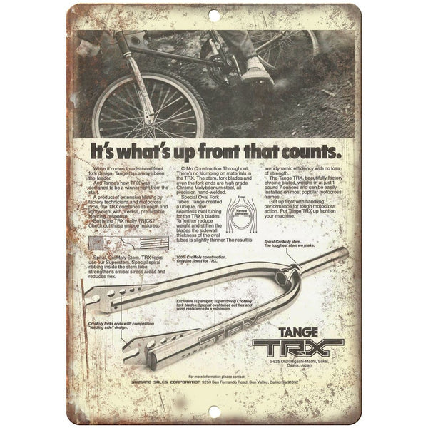 "Tange TRX BMX Forks - 10"" x 7"" Metal Sign Vintage Look Reproduction"