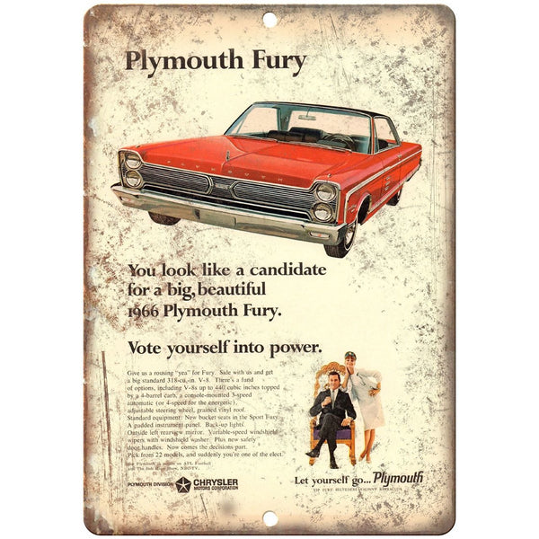 "1966 Plymouth Fury Vintage Car Ad 10"" x 7"" Reproduction Metal Sign"