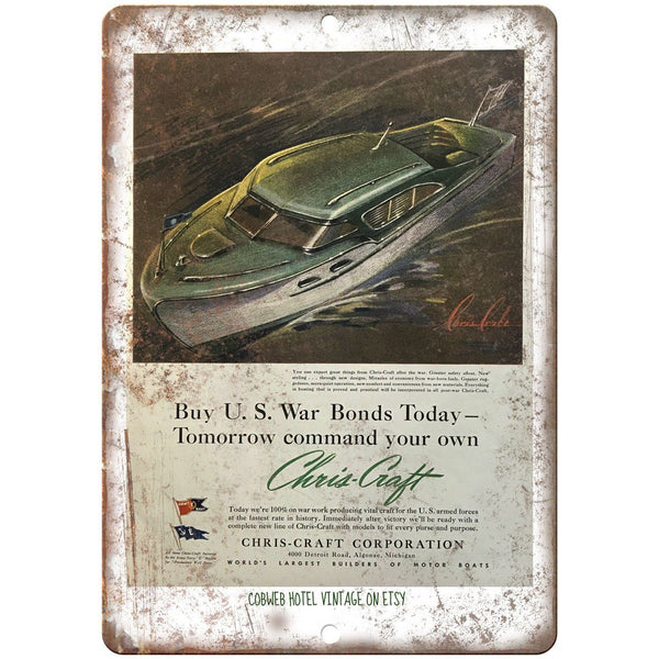 "Chris Craft Boat Vitahe Ad 10"" x 7"" Reproduction Metal Sign L60"