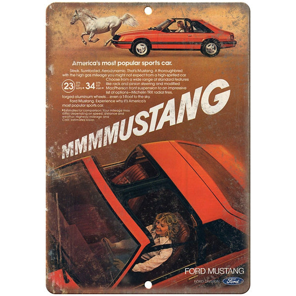 "1981 - Ford Mustang T-Roof - 10"" x 7"" Retro Look Metal Sign"