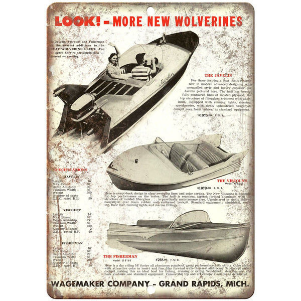 "Wagemaker Company Boat Vintage Ad 10"" x 7"" Reproduction Metal Sign L27"