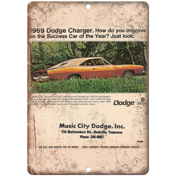 "1969 Music City Dodge Charger Ad 10"" x 7"" Reproduction Metal Sign A255"