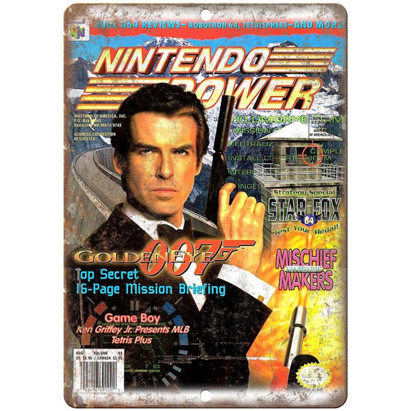 "Nintendo Power Golden Eye 007 Gaming 10"" x 7"" Reproduction Metal Sign G273"