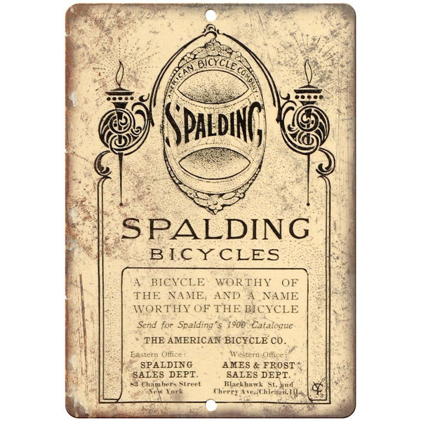 "American Bicycle Company Spalding Vintage 10"" x 7"" Reproduction Metal Sign B388"