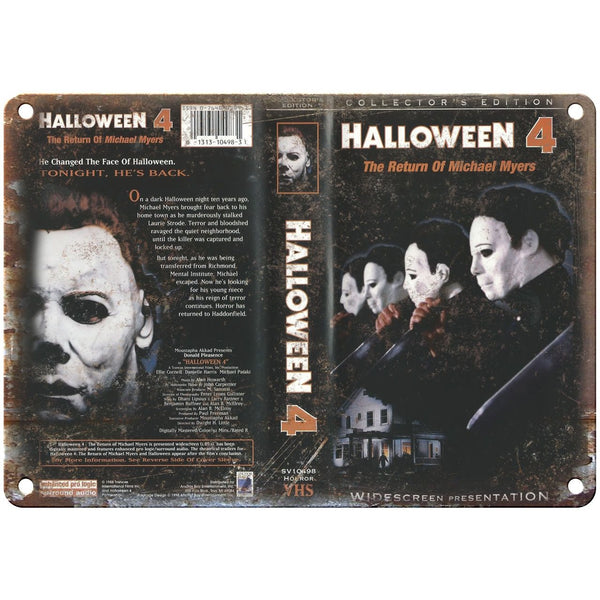 "Halloween 4 Michael Myers Movie VHS Cover 10"" x 7"" Vintage Look Reproduction"
