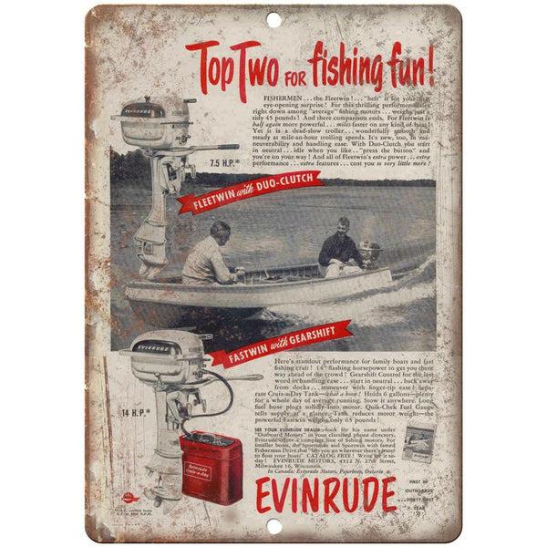 "Evinrude Outboard Motors Fishing Fun Boating Ad 10"" x 7"" Reproduction Metal Sign"