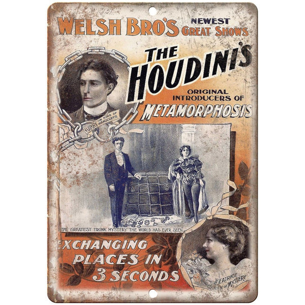 "Welsh Bro's Houdini's Metamorphosis 10"" X 7"" Reproduction Metal Sign ZH174"