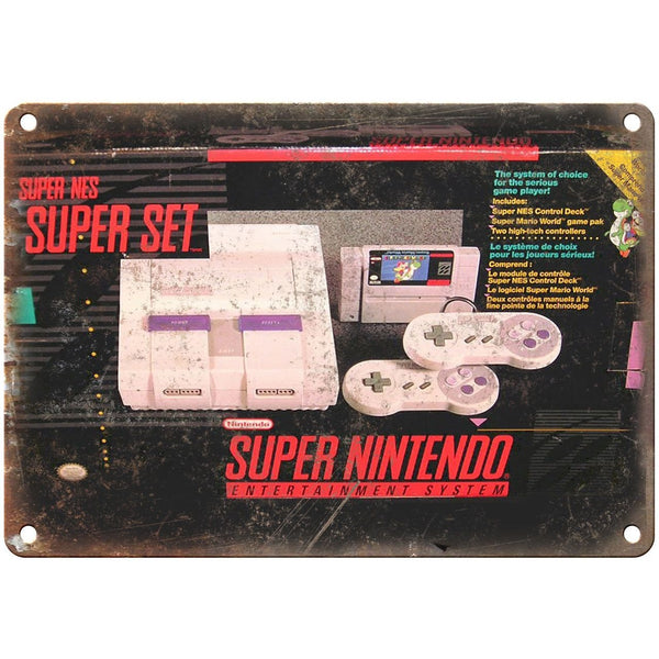 "Super Nintendo Box Art Retro Gaming 10"" x 7"" Reproduction Metal Sign"