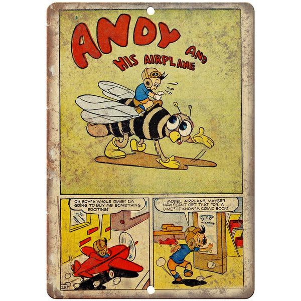 "Andy And His Airplane Comic Strip Art 10"" x 7"" Reproduction Metal Sign J541"