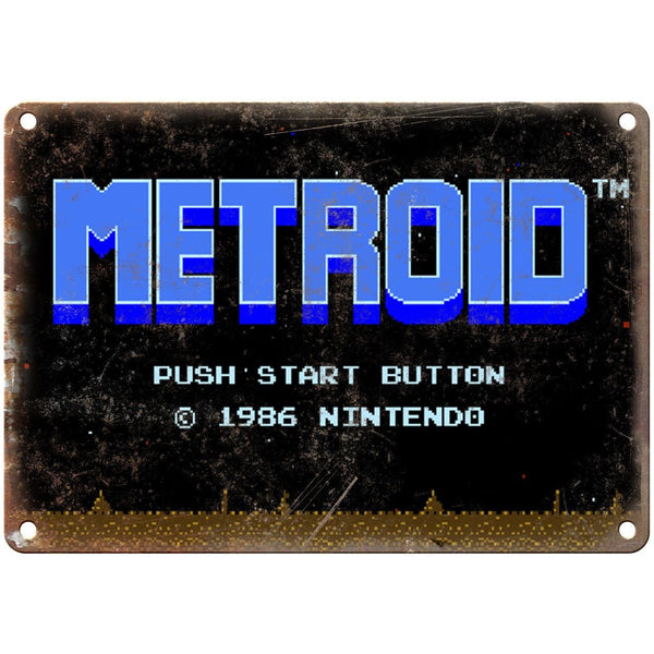 "Nintendo Metroid Start Screen Gaming 10"" x 7"" Reproduction Metal Sign G125"