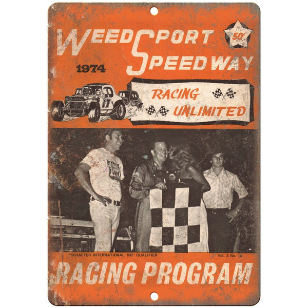 "1974 Weed Sport Speedway Program 10"" X 7"" Reproduction Metal Sign A582"