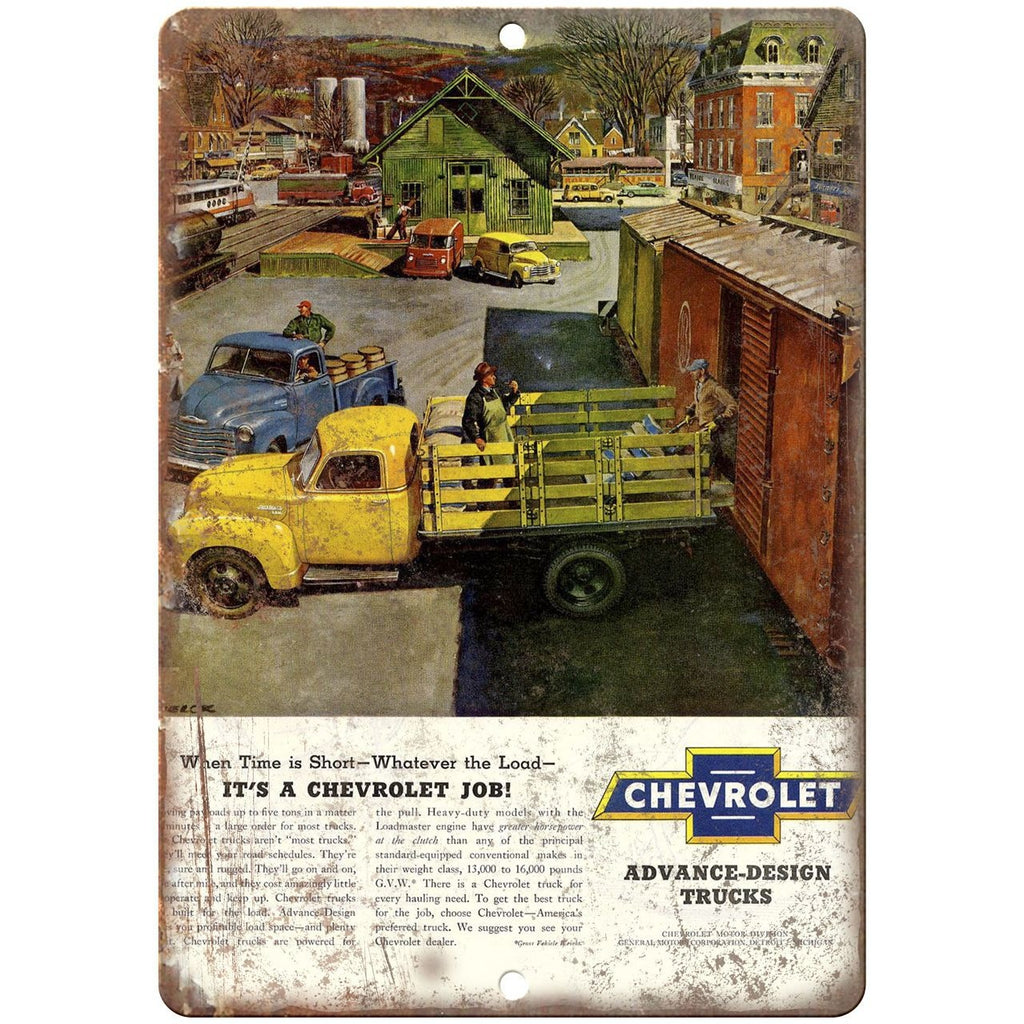 "Chevrolet Advance Design Trucks Ad - 10"" x 7"" Retro Look Metal Sign"