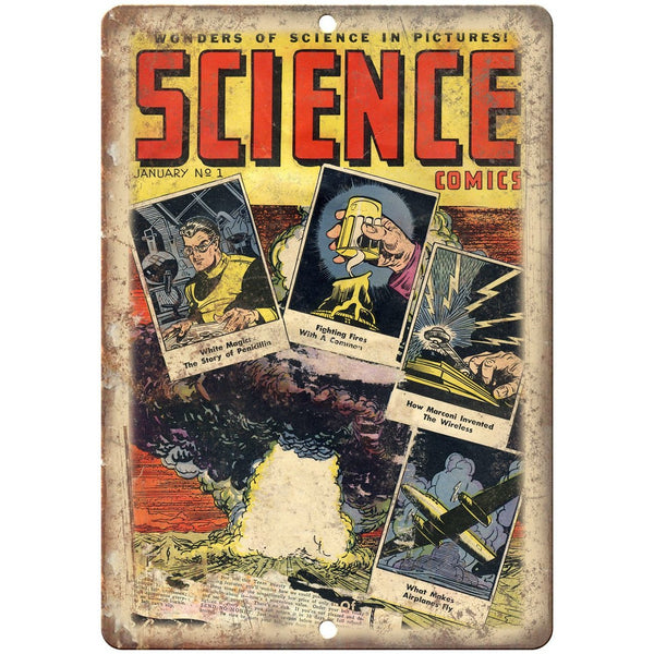 "Wonders of Science Comics Vintage Cover 10"" X 7"" Reproduction Metal Sign J460"
