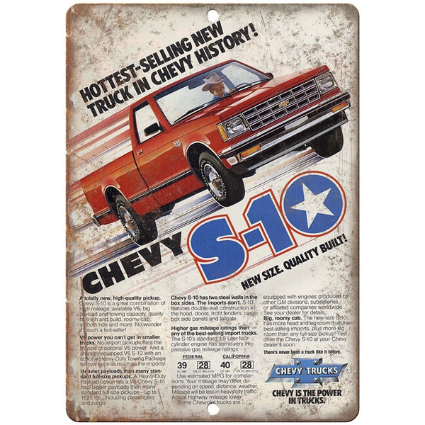 "Chevy S-10 Trucks Advertisment Retro Look 10"" x 7"" Reproduction Metal Sign"