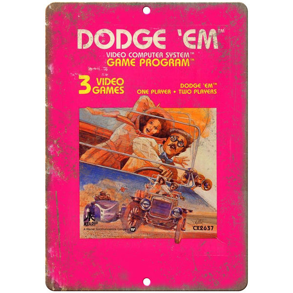 "Atari Video Computer System Dodge 'Em Video Game 10"" x 7"" Retro Look Metal Sign"
