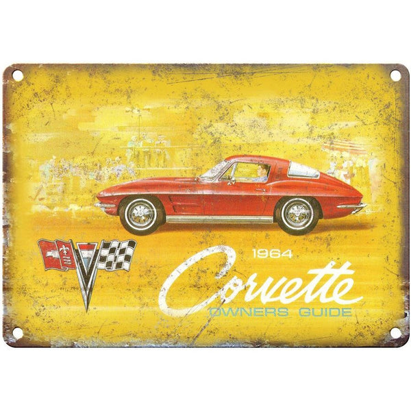"1964 Chevy Corvette Sales Brochure 10"" x 7"" Reproduction Metal Sign"