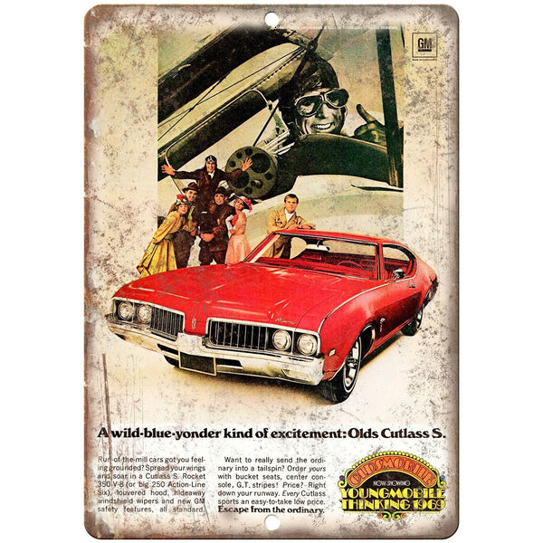 "1969 - Oldsmobile Cutlass Supreme - 10"" x 7"" Wall Art Metal Sign"