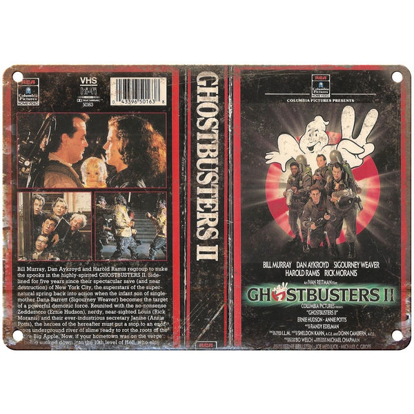 "1989 Ghostbusters 2 Video VHS Cover 10"" x 7"" Reproduction Metal Sign"