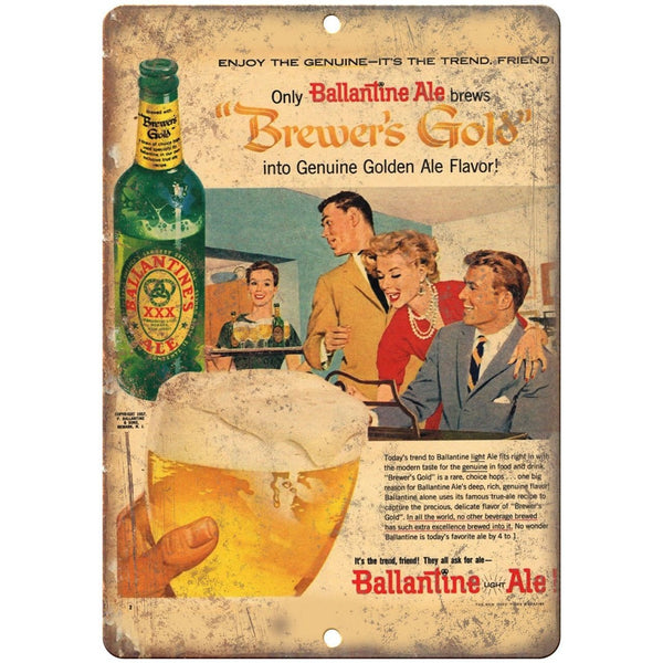 "Ballantine Ale Brewer's Gold Vintage Beer 10"" x 7"" Reproduction Metal Sign E252"