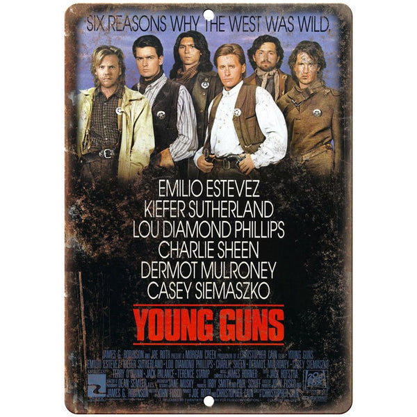 "10"" x 7"" Metal Sign - Young Guns Movie Poster - Vintage Look Reproduction"