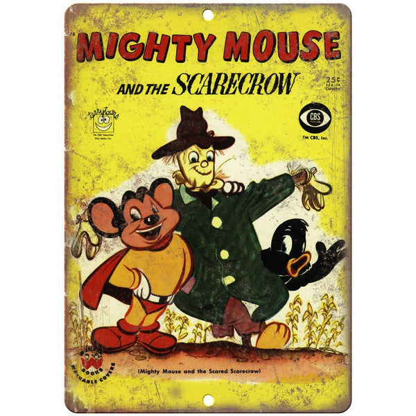 "Mighty Mouse and the Scarcrow Comic Art 10"" X 7"" Reproduction Metal Sign J435"