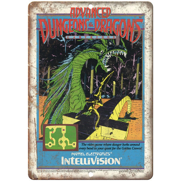 "Advanced Dungeons & Dragons Intellivision 10"" x 7"" reproduction metal sign"
