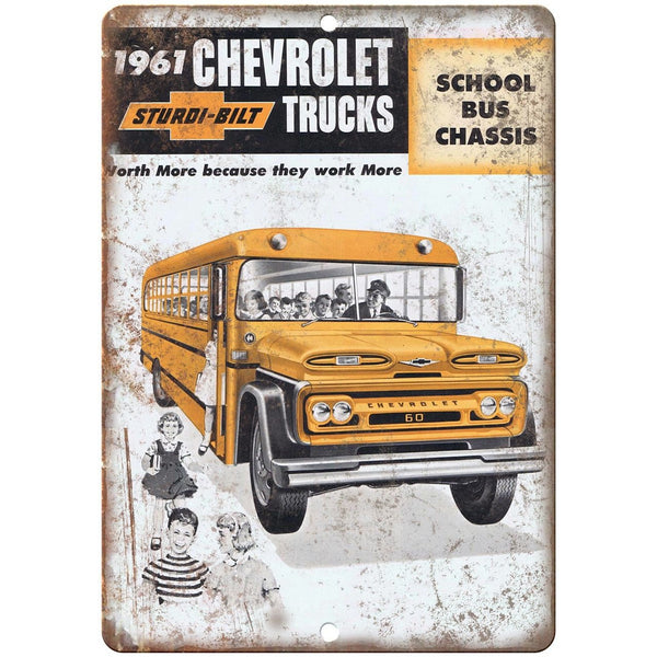 "1961 Chevrolet Truck School Bus Chassis 10"" x 7"" Reproduction Metal Sign A168"